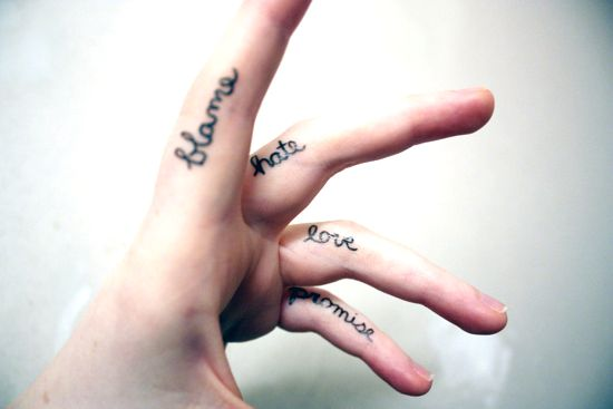 tattoo lettering on finger