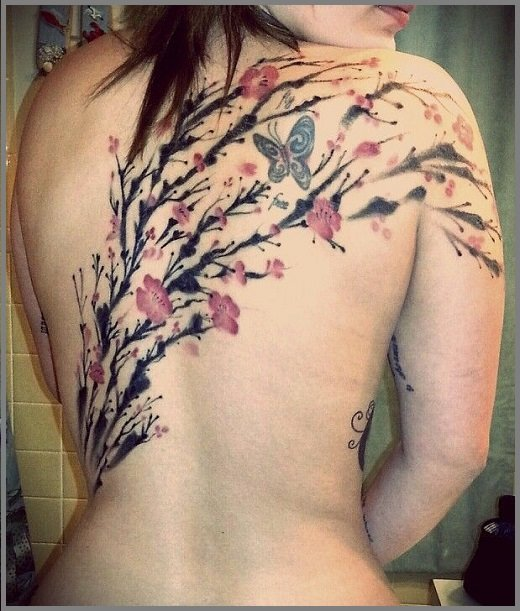 Cherry Blossom Full Back Tattoo