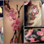 Colorful Cherry Blossom Tattoo Designs